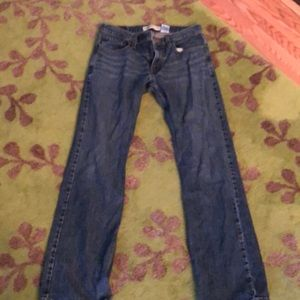 Levi's 527 boot cut dark blue jeans whiskered.